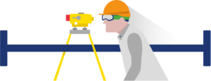 Illustration of a surveyor wearing a hard hat and looking through an instrument on a stand.