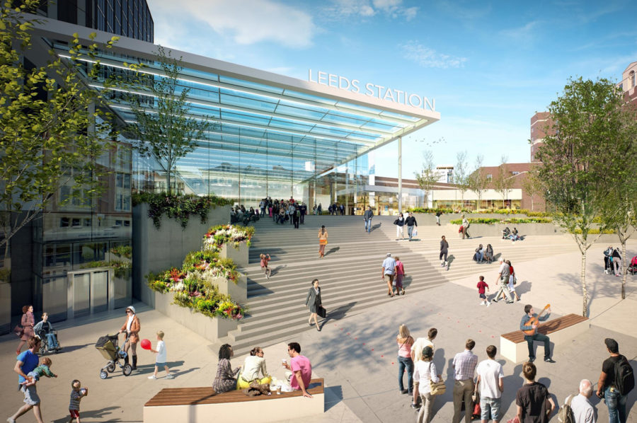 Architect's concept for the new Leeds station and public area