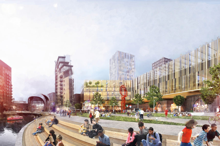 Architect's vision of the exterior of Leeds station redevelopment.