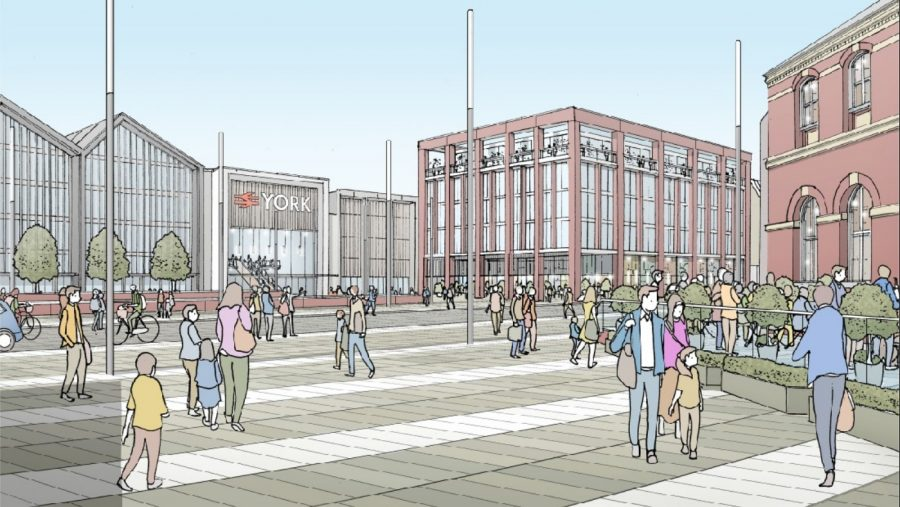 Architectural sketch of the exterior of a redeveloped York Station