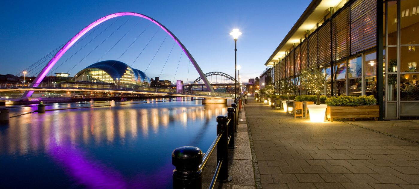 Stock image showing riverside front in Newcastle.