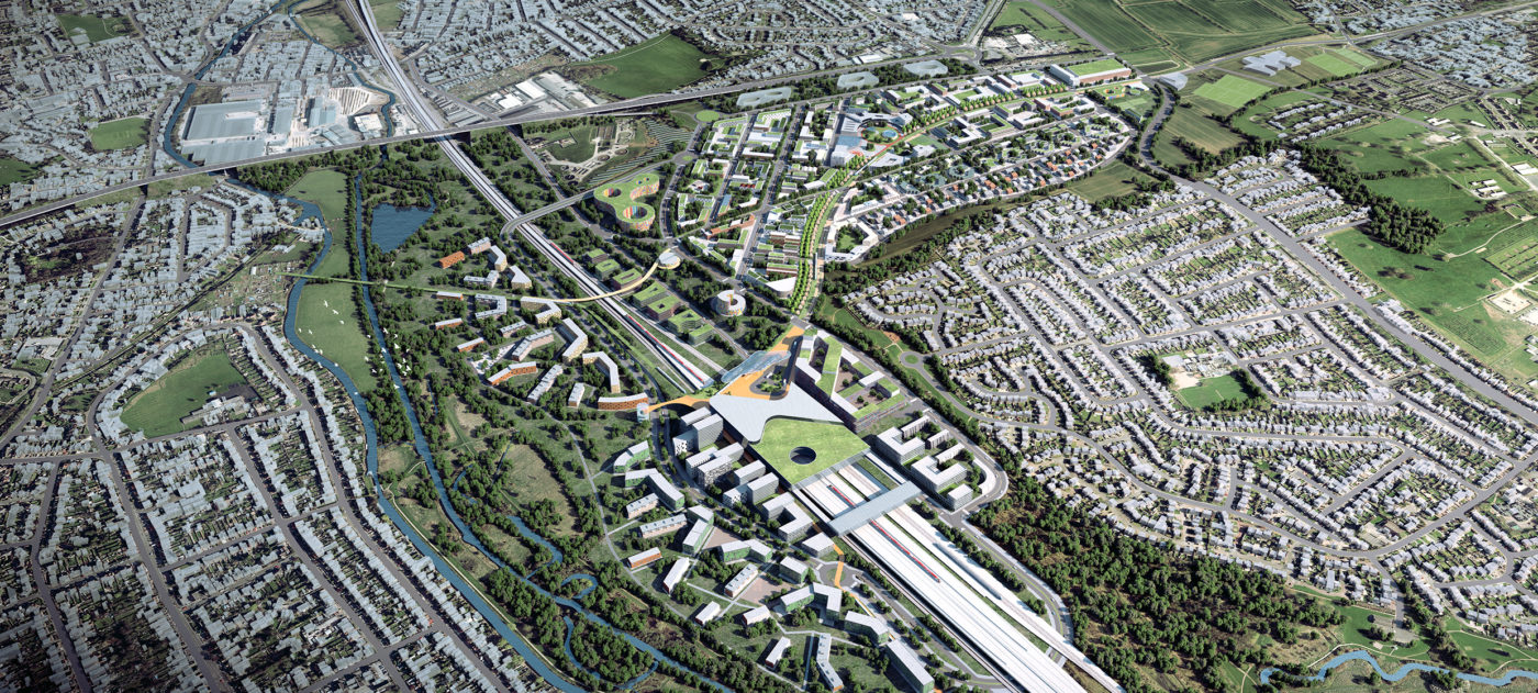 aerial view of the proposed development of the Toton site as the new station for HS2