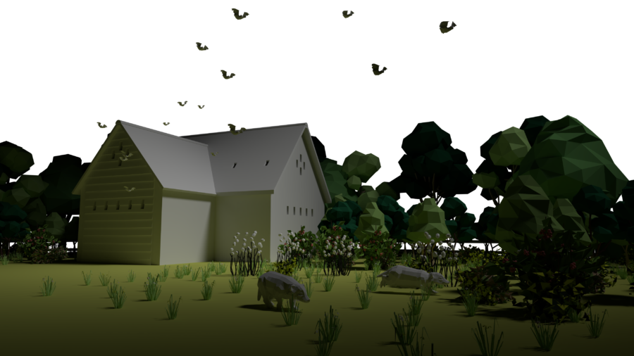 Animated example of a badger habitat alongside the HS2 route.