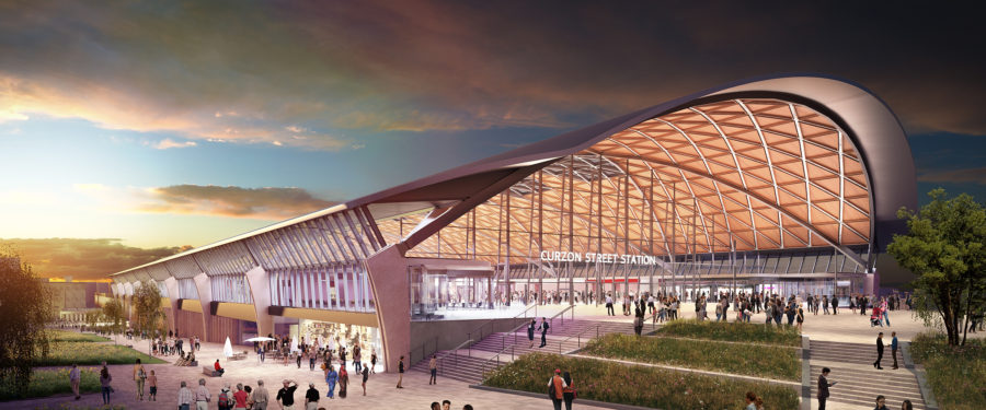 Architect's vision of the exterior of the new station featuring a large arch above the entrance
