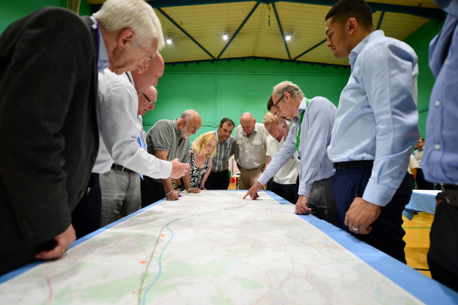 Members of the public at a HS2 information event.