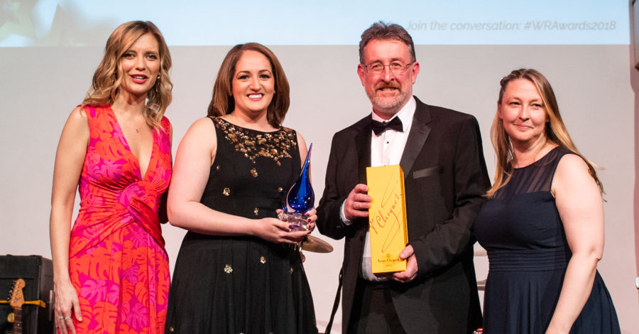 Amy Morley and Jim Crawford are collecting the award on behalf of HS2 from TV presenter and mathematician Rachel Riley.
