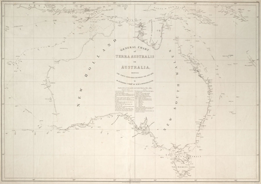 Flinders's hand-drawn map of the Australian continent