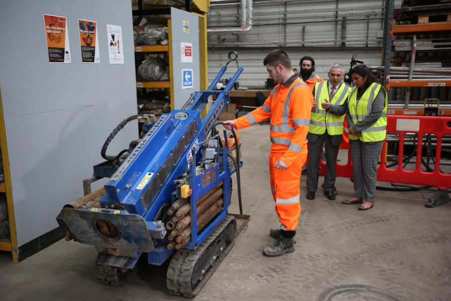 Billy demonstrating the operation of a ground investigation machine.