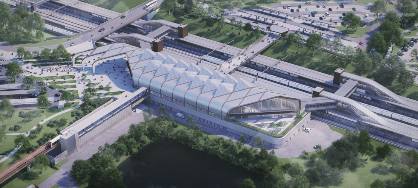 CGI showing aerial view of Interchange Station and surrounding area.