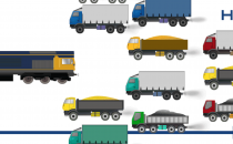 Illustration of a train displacing a dozen lorries with exhaust fumes.