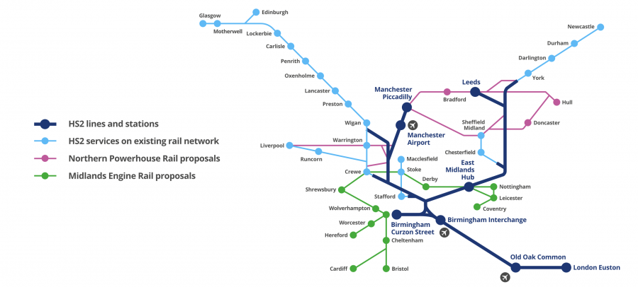 High speed rail network map.