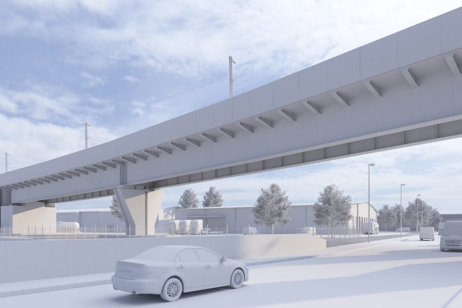 Sketch of a viaduct crossing over a road with cars travelling underneath it.