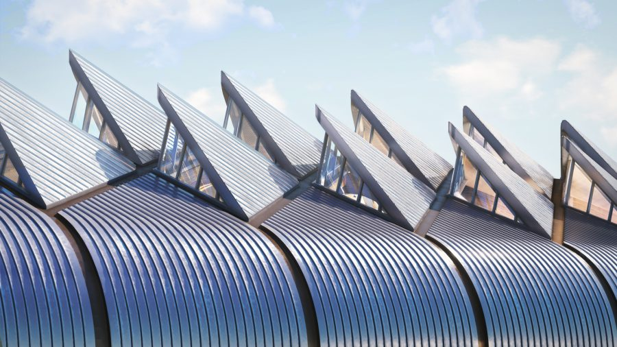 Solar panels and roof lights on the top of HS2 Interchange station, artist's impression
