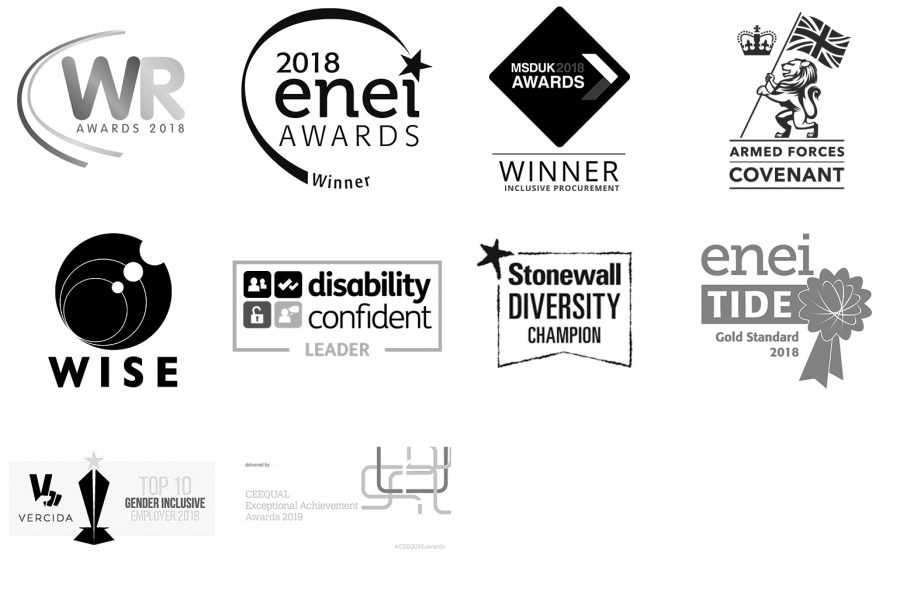Images of the awards and partnership logos HS2 has received