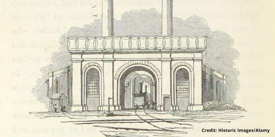 Historic illustration of old Curzon Street station roundhouse.
