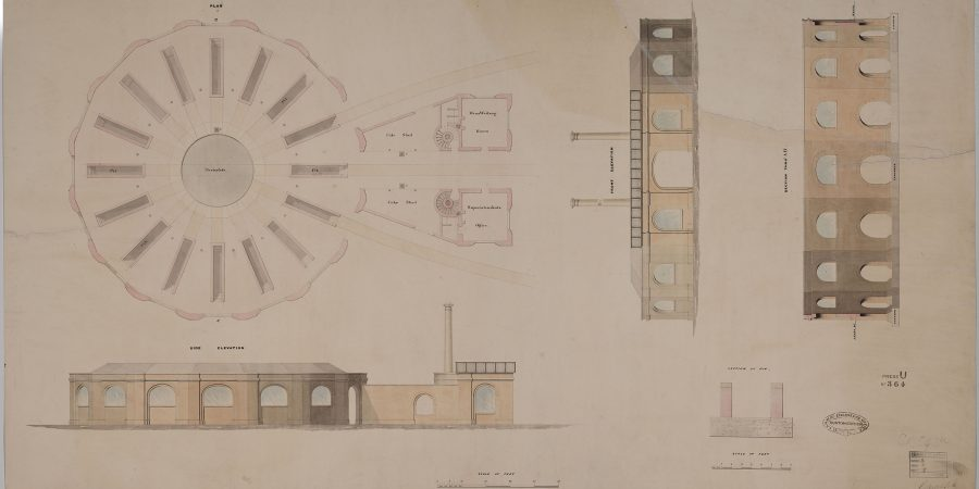 Historic plan drawing of the roundhouse interior.