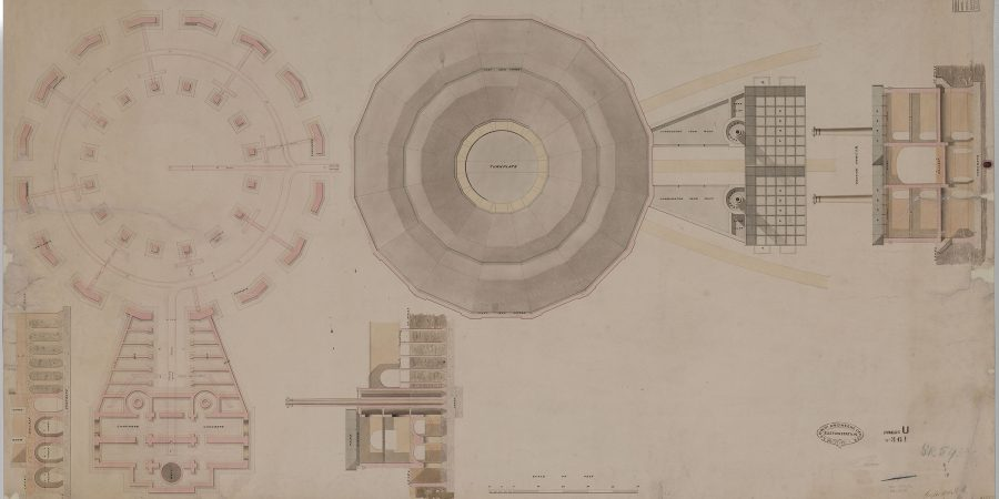 historic plan drawing on the roundhouse at Curzon Street station