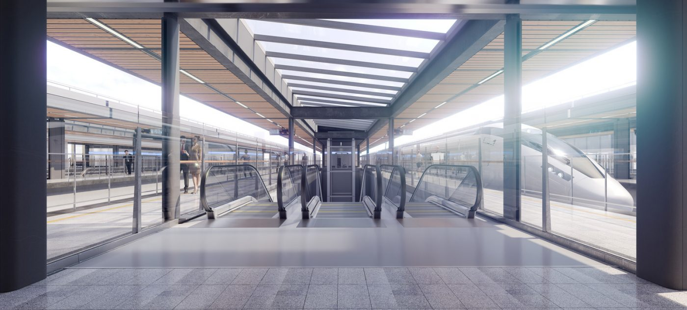 CGI image of platform view at new Curzon Street Station, with a high speed train to the right, and an escalator in the middle