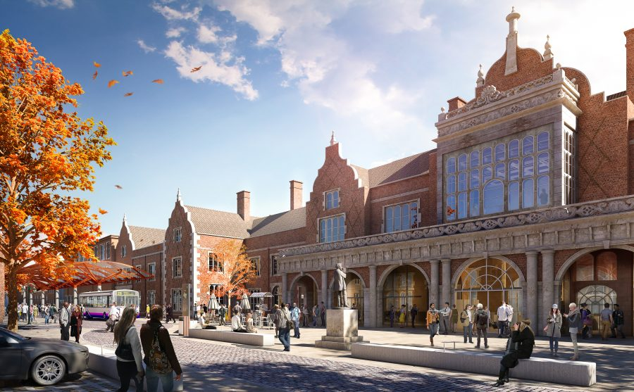 Artists impression of a revamped front entrance of Stoke train station