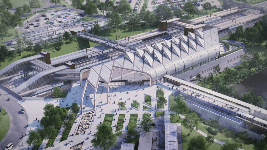 An architect's visual of the birds-eye view on Interchange station showing the station exterior, tracks, pedestrian plaza and links to other modes of transport.