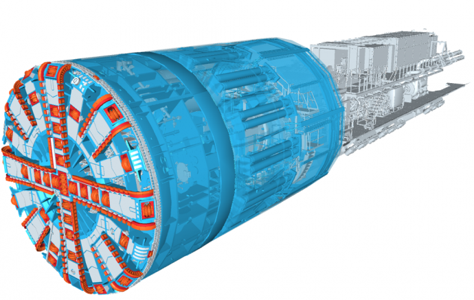 engineering model of a tunnel boring machine