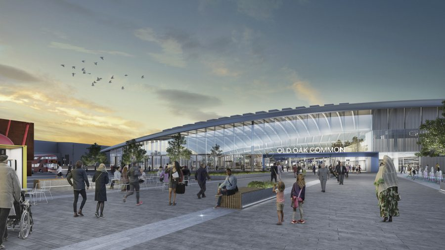 CGI of exterior of station showing its gently arching roof above the concourse.