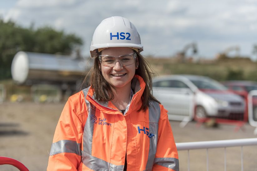 HS2 apprentice on a construction site