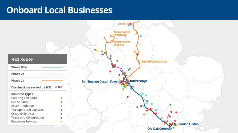 Map showing businesses across the line of route