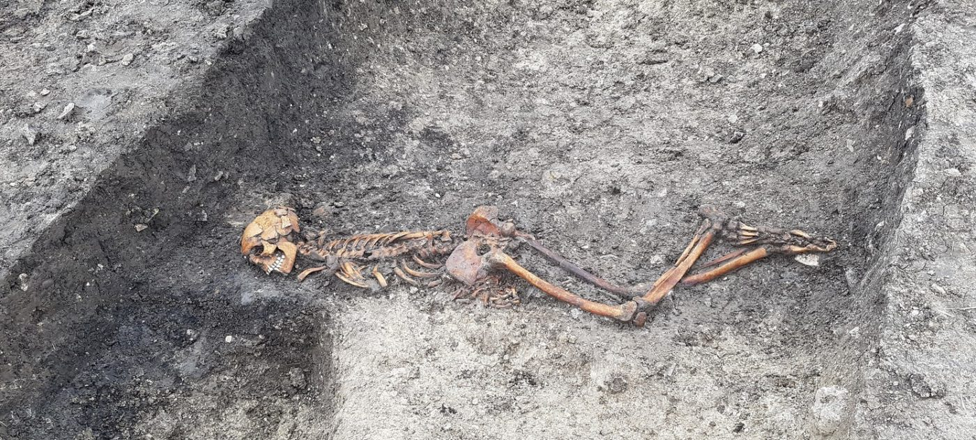 Iron Age skeleton uncovered by excavation.