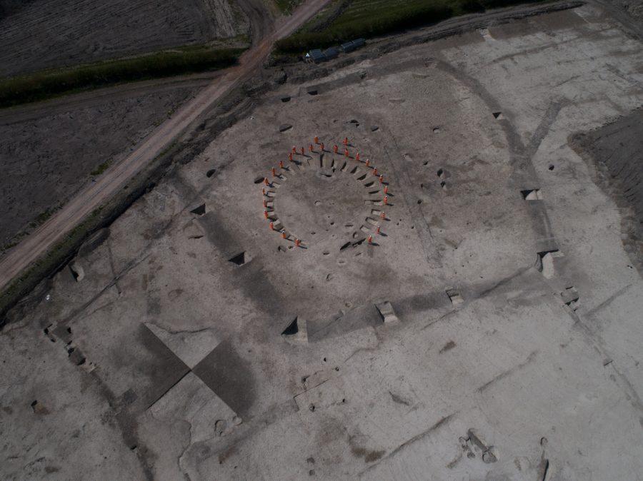 Drone shot of Wellwick Farm archaeology site.