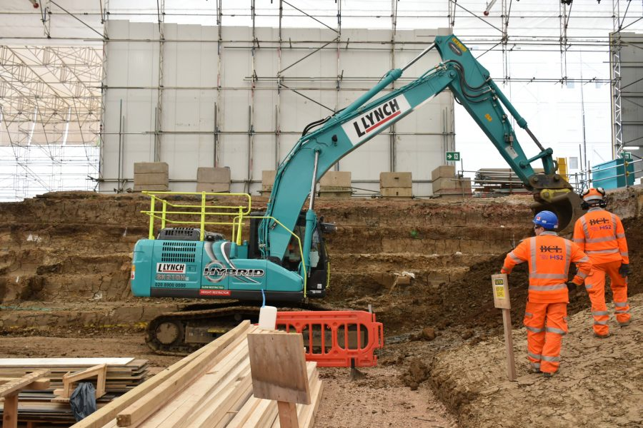 A hybrid power excavator working on an HS2 site.