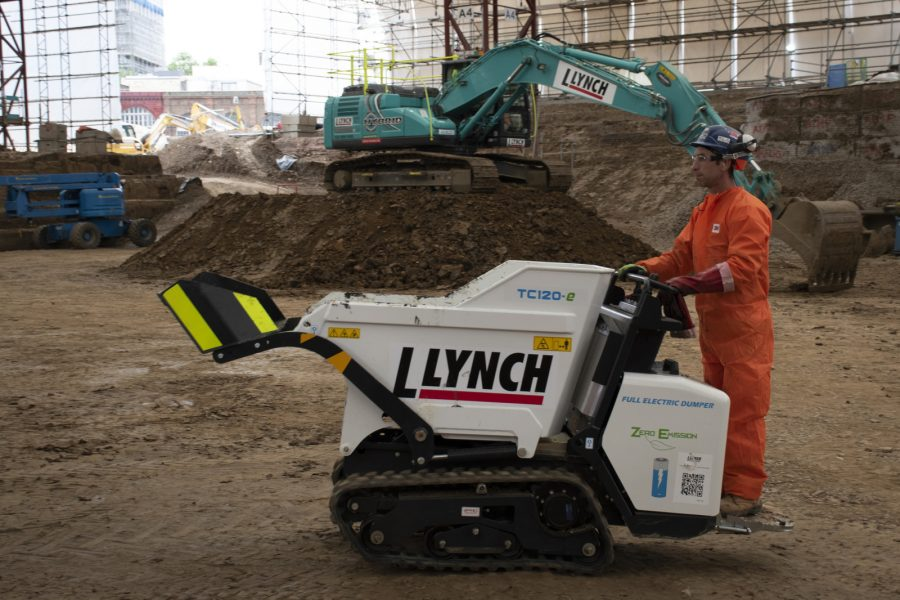 An electric powered mini dumper used on an HS2 archaeology site.