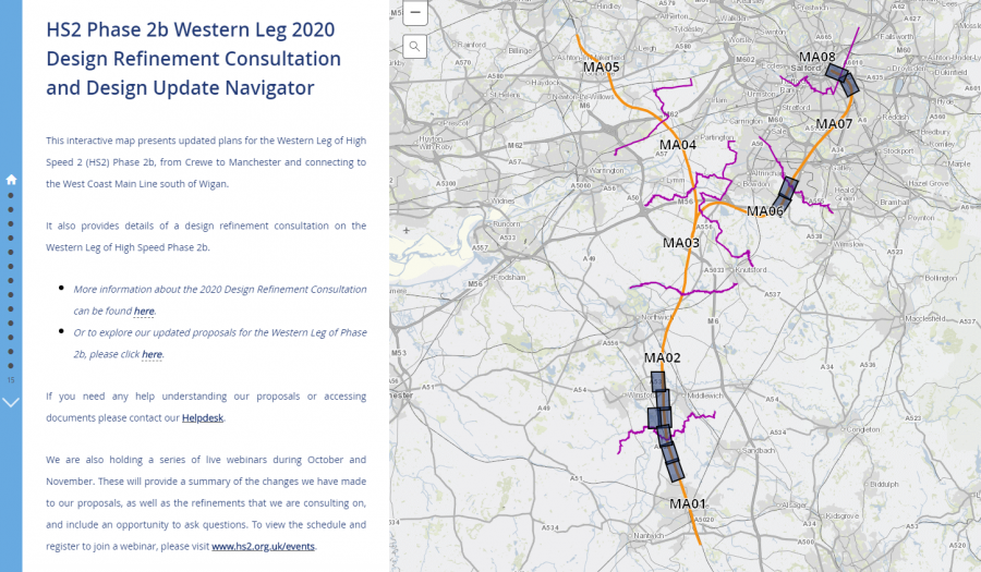 Screenshot of the navigator tool showing the HS2 route on a map