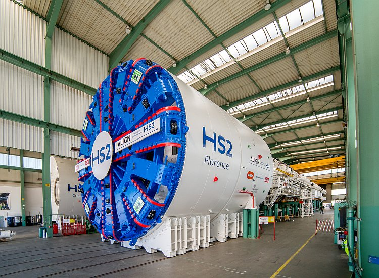 The giant cutter head of a HS2 tunnelling machine.