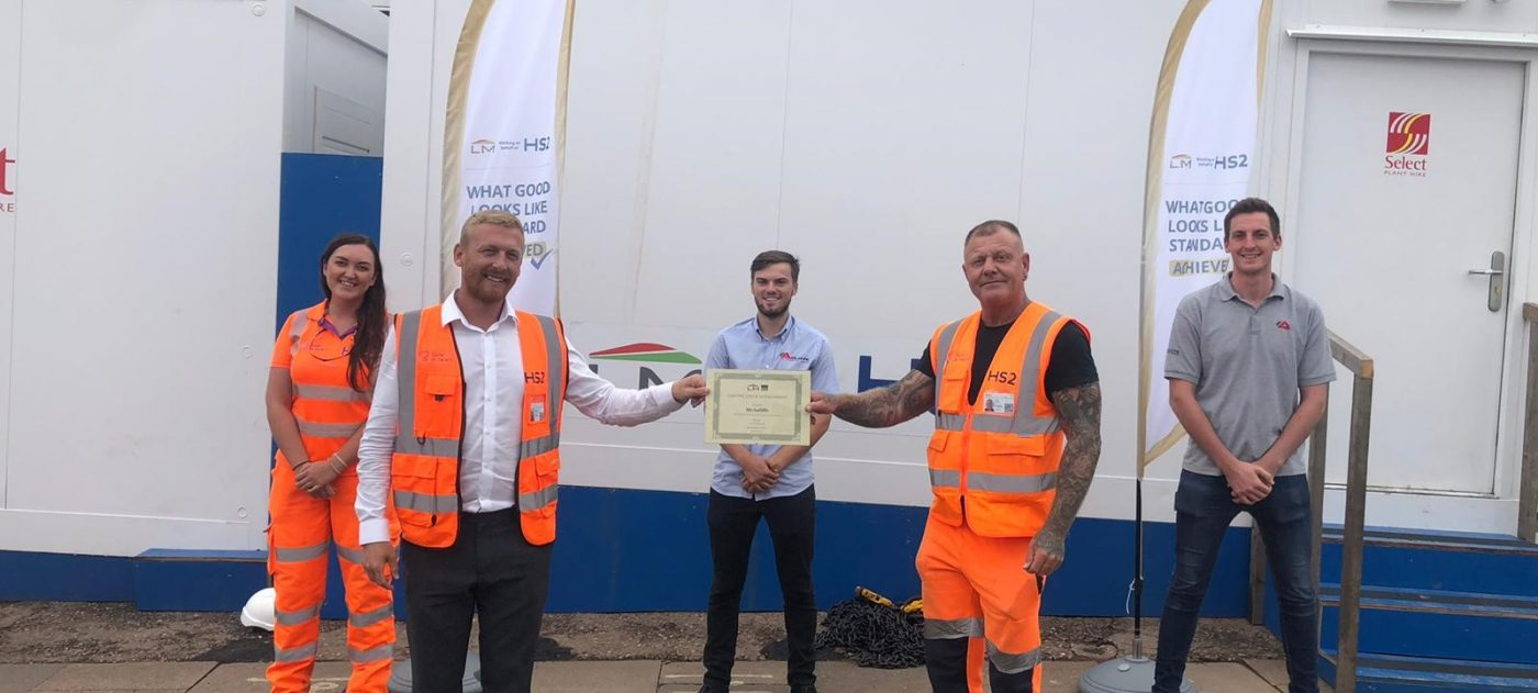 Curzon Street site team presented with an award recognising their high standard of work on the High Speed Two Ltd project.