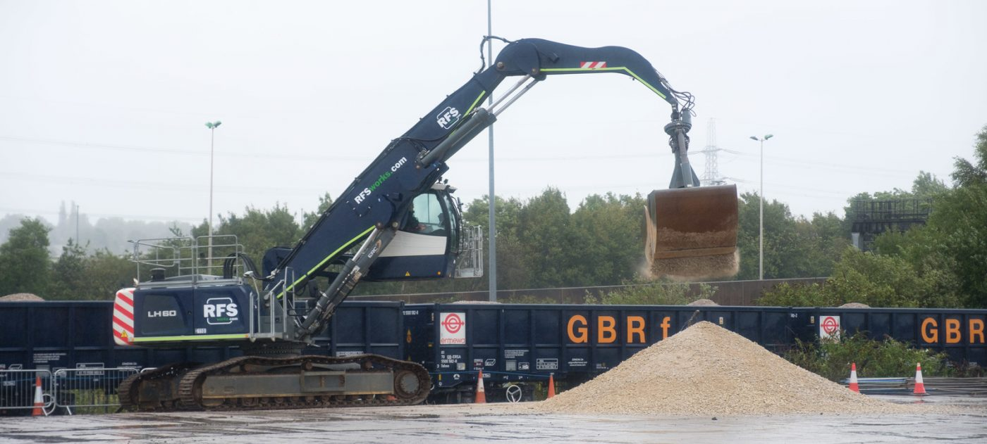 Aggregate is unloaded from a freight train at Washwood Heath