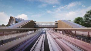 CGI of four railway tracks running through Interchange Station.