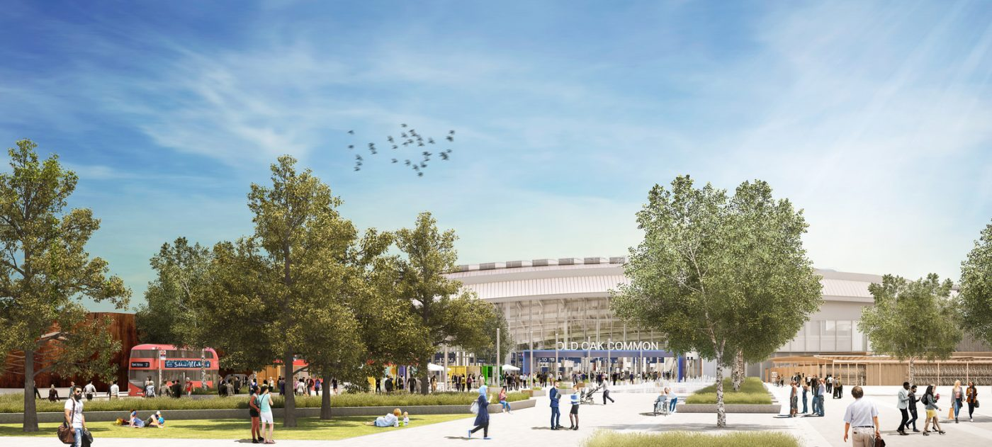 CGI of HS2 Old Oak Common station (station approach view)