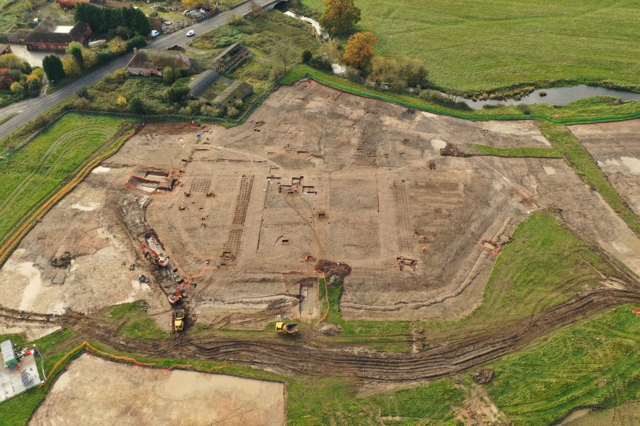 Drone shot of the discovered landscape at the Coleshill site.