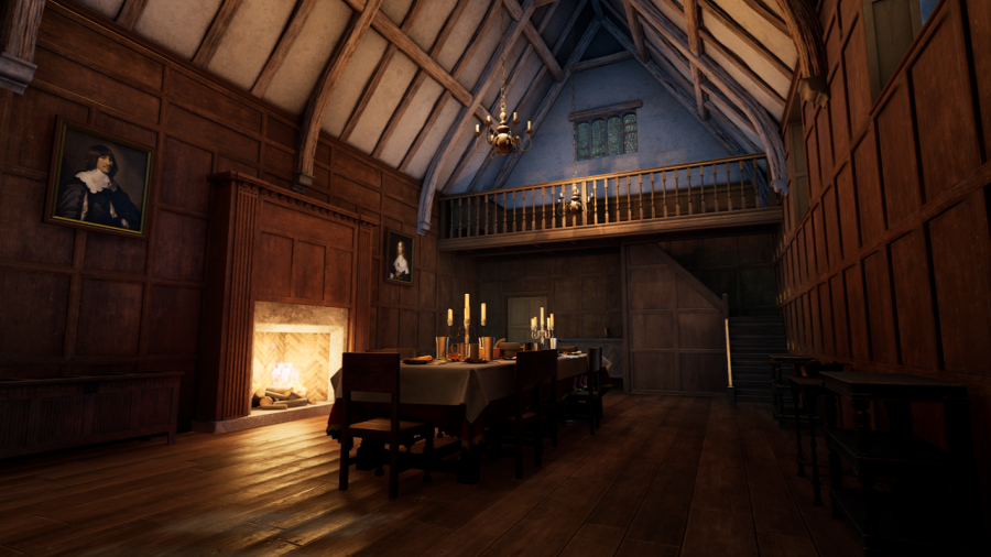 3D reconstruction of the great hall, Coleshill Hall during the Elizabethan period