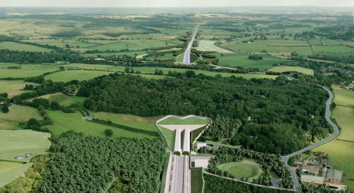 CGI image of HS2's Phase 2a line passing under a wood through a tunnel.