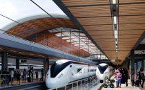 CGI image of high speed trains at a platform.