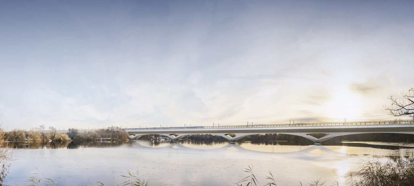 Colne Valley Viaduct concepts created for HS2 by Grimshaw Architects