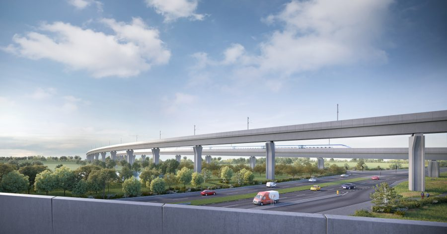 Artists impression of viaduct passing over road