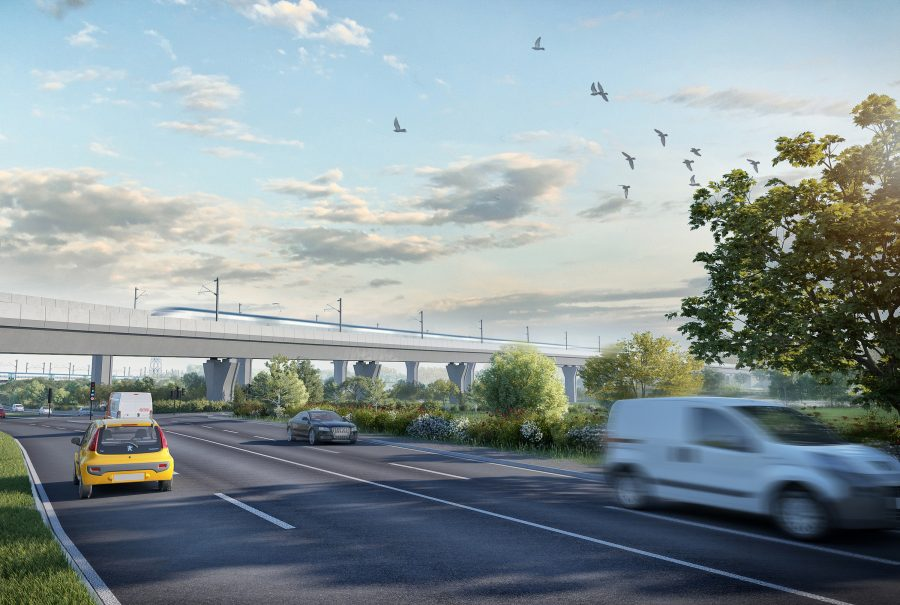 Artists impression of viaduct crossing over road