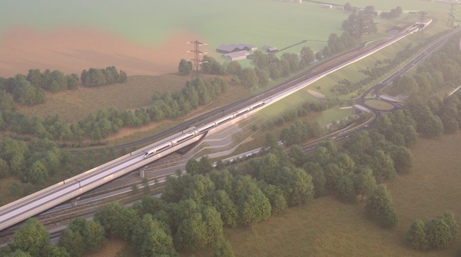 Computer generated image (CGI) of the Wendover Dean and Small Dean viaduct (SDV)