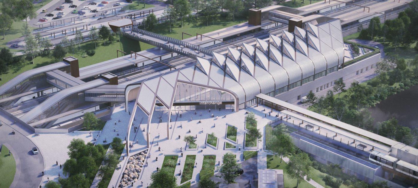 Aerial view of HS2 Interchange station, artist's impression