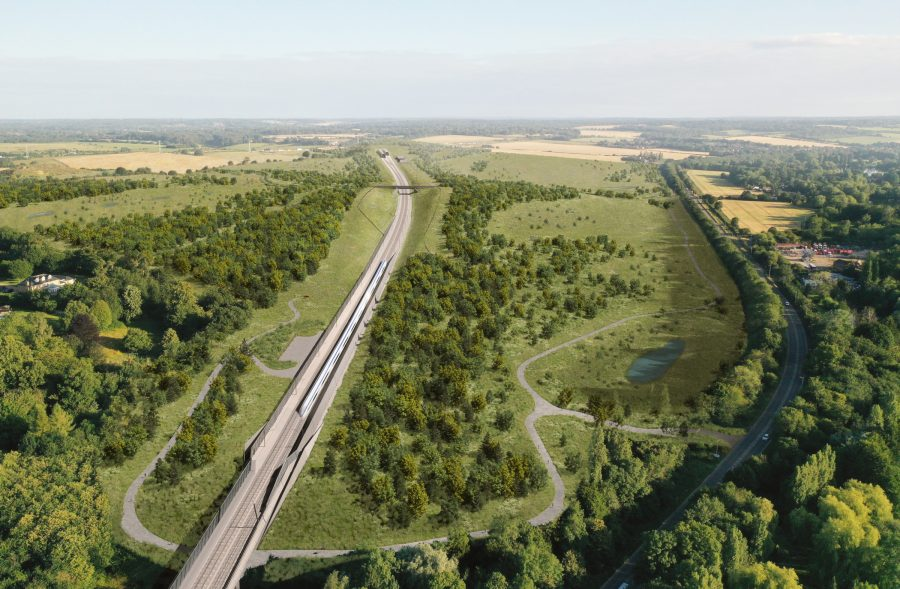 An aerial CGI image of the railway in a landscaped cutting approaching the Chilterns tunnel.