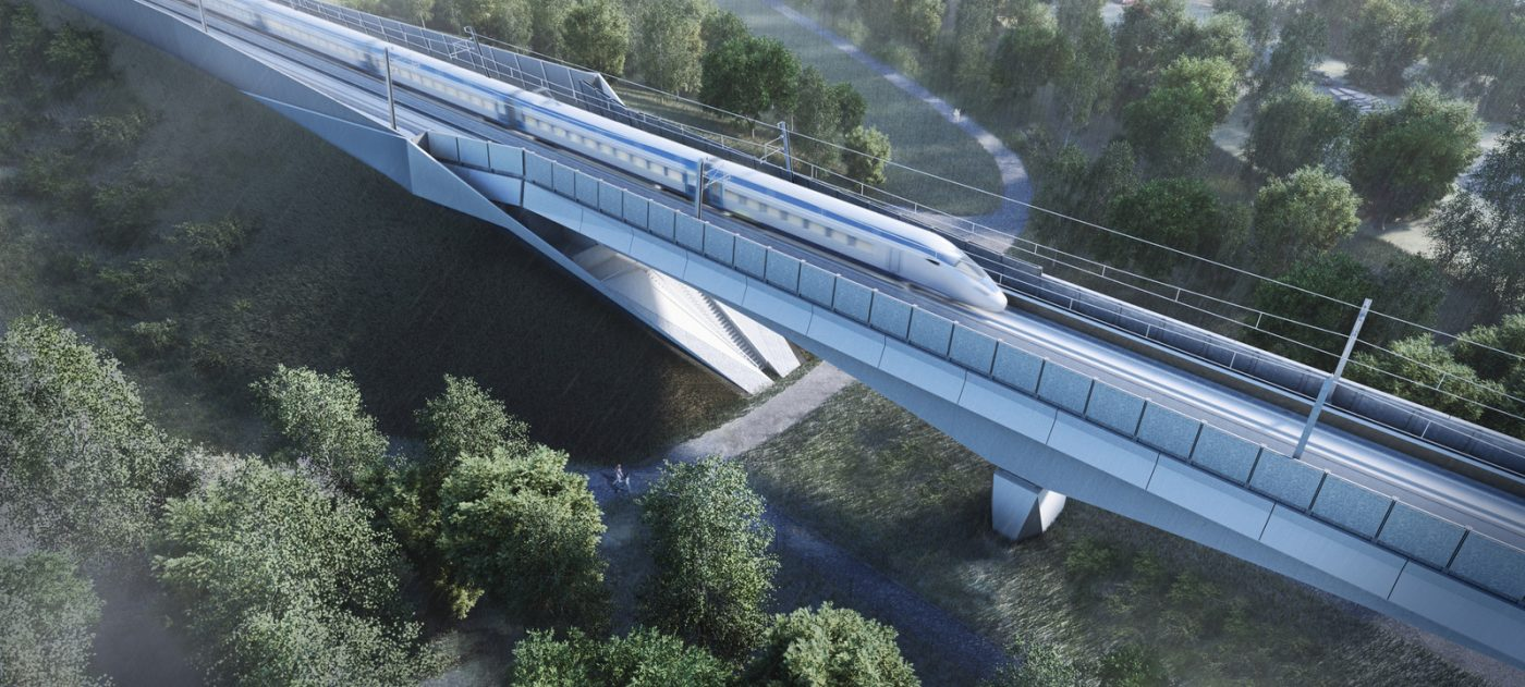 CGI of a HS2 train as it crosses the Colne Valley Viaduct.