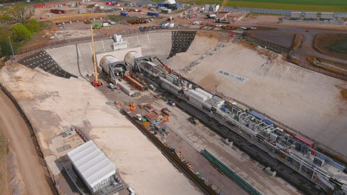 Aerial view of the cutting leading to the Chiltern tunnel's south portal. A tunnel boring machine is being readied for use.